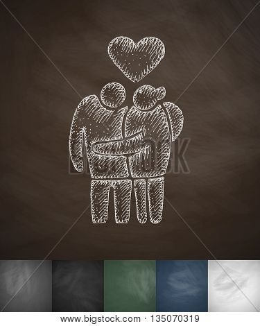 family pensioners icon. Hand drawn vector illustration. Chalkboard Design