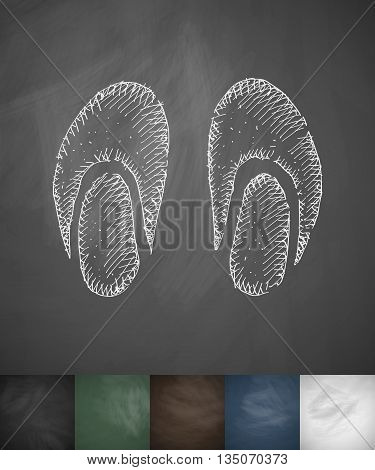 slippers icon. Hand drawn vector illustration. Chalkboard Design