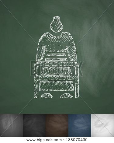 old woman with walker icon. Hand drawn vector illustration. Chalkboard Design