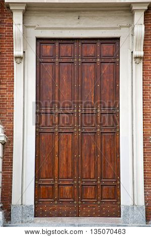 Knocker And Wood  Door In A Church Crenna Gallarate Varese Italy