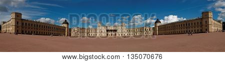 GATCHINA, ST. PETERSBURG, RUSSIA - AUGUST 30, 2015: Panoramic view of the Gatchina palace. The palace was built in 1766-1781 by design of the Italian architect Antonio Rinaldi