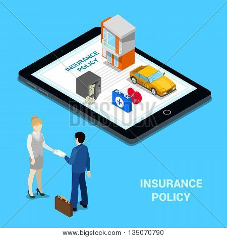 Online Insurance Concept. Insurance Services - House Insurance, Car Insurance, Medical Insurance, Money Insurance. Isometric People