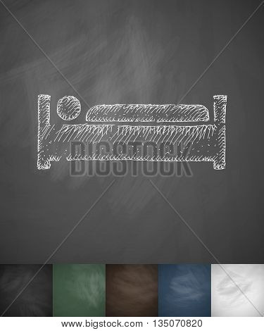 man in bed icon. Hand drawn vector illustration. Chalkboard Design