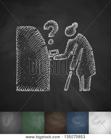old woman icon. Hand drawn vector illustration. Chalkboard Design