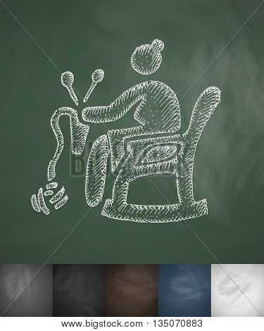 old woman knitting icon. Hand drawn vector illustration. Chalkboard Design
