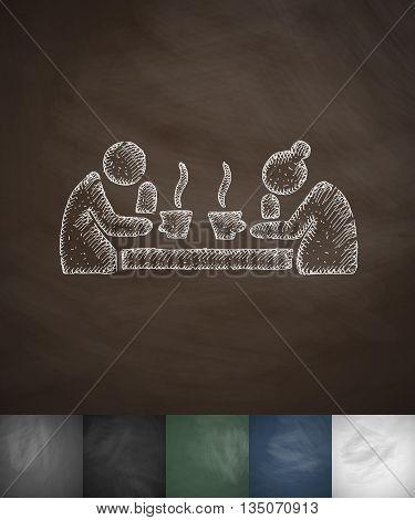 old men drinking tea icon. Hand drawn vector illustration. Chalkboard Design