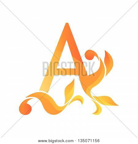 Text Letter A in Fire Flame, Vector Icon isolated on white.