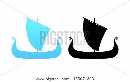 Boat of Vikings - Drakkar Illustration in black and blue colors, Vector Illustrations isolated on white