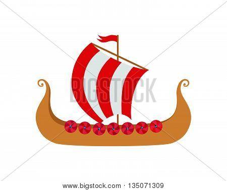 Drakkar - Viking's Ship in Nordic Sea. Wooden Knarre - Warships of Scandinavian Ancient Warriors. Vector Illustration isolated on white background.