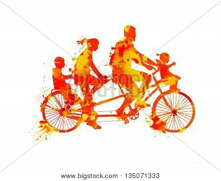 Family walk on tandem bike. Watercolor splash paint