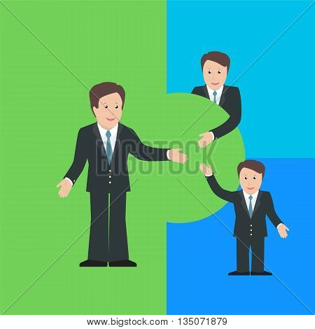 Merger and Acquisition design concept with business characters. Vector illustration.