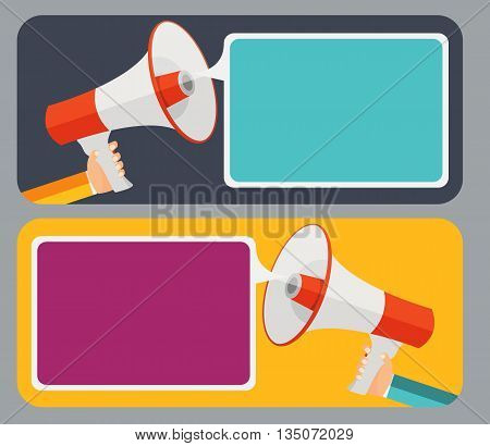 Hand with Megaphone and Speech Bubble Vector Illustration EPS10
