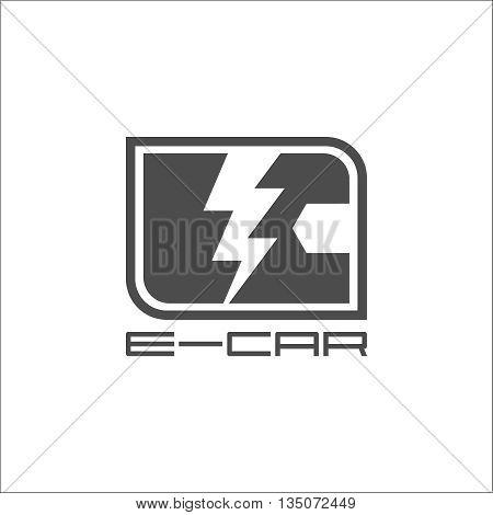 E-car logo eco car gray,  concept, e-auto