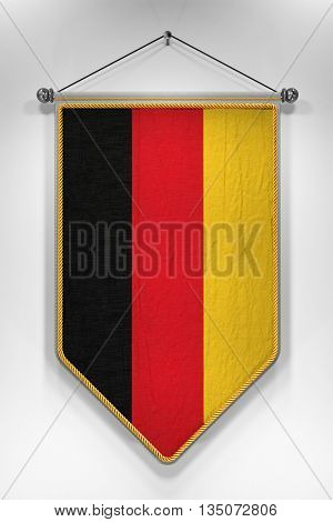 Pennant with German flag. 3D illustration with highly detailed texture.