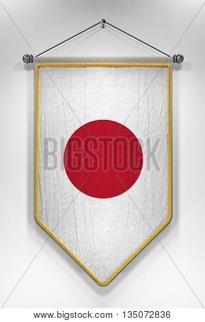 Pennant with Japanese flag. 3D illustration with highly detailed texture.