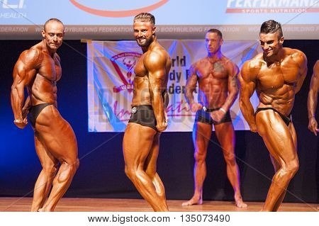 MAASTRICHT THE NETHERLANDS - OCTOBER 25 2015: Male bodybuilders flex their muscles and show their best triceps pose at the World Grandprix Bodybuilding and Fitness of the WBBF-WFF
