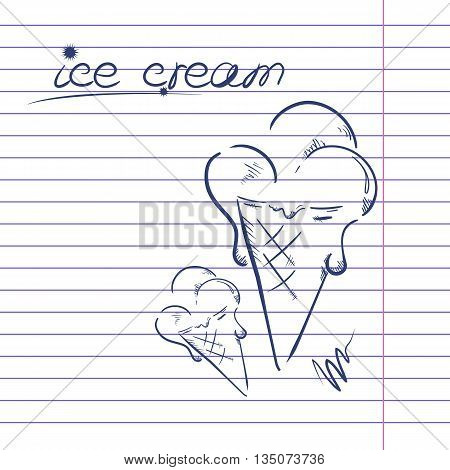 Vector illustration of the ice cream on a notebook paper.