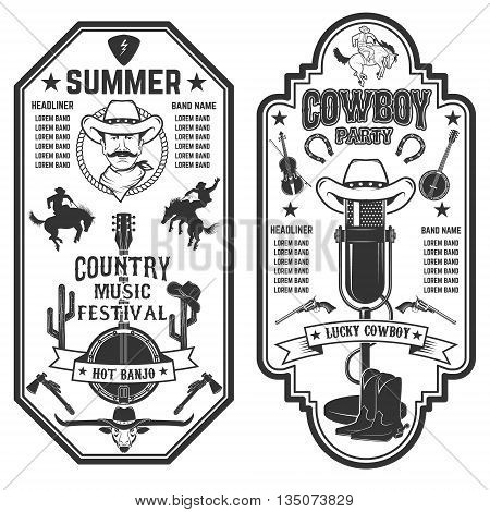 Folk rock party. Summer country music festival flyer template. Cowboys banjo old style microphone. Vector illustration.