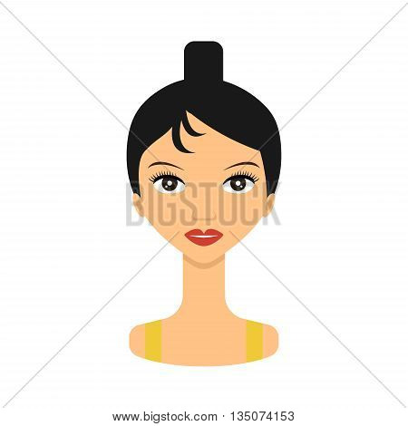 Woman face icon. Face young women - vector stock. Beauty woman avatar.