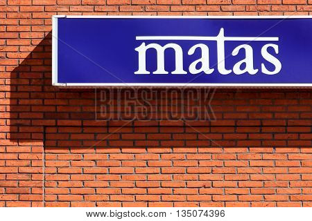 Struer, Denmark - June 12, 2016: Matas sign on a wall. Matas is a danish based business, founded in 1949, that operates a chain of drug stores across Denmark