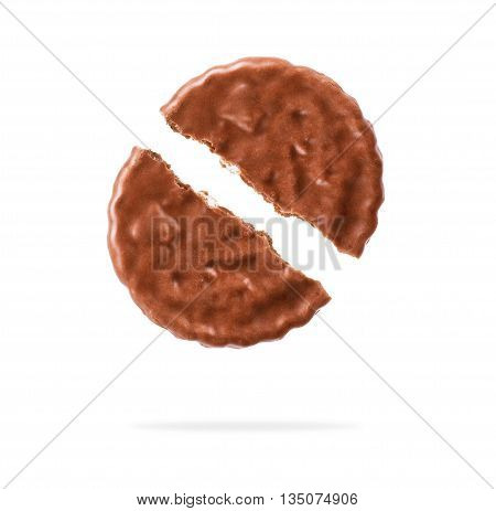 chocolate cookies against white background  protein eat,
