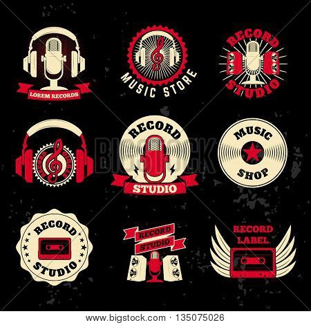 Record studio labels. Old style microphone headphones cassette. Design elements for logo label emblem sign badge.