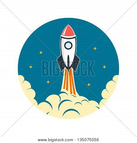 Rocket launch illustration. Startup emblem template. Design elements for logo label sign badge.