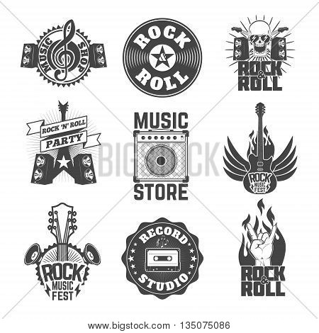 Set of rock music labels badges and design elements. Design element for logo label emblem sign. Vector design element
