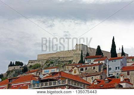 St. Michael fortress. Fortress is located in the town of Sibenik above Old Town.Croatia