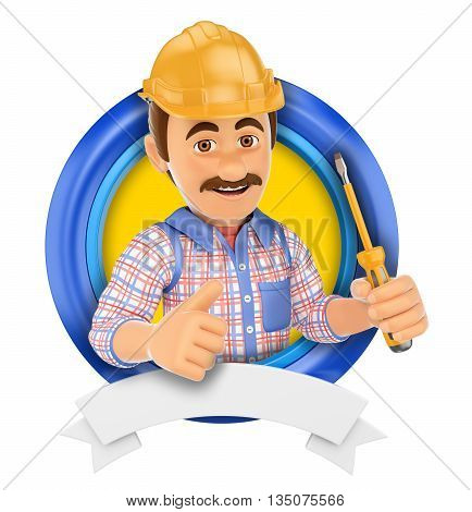 3d logo illustration. Electrician with screwdriver. Isolated white background.