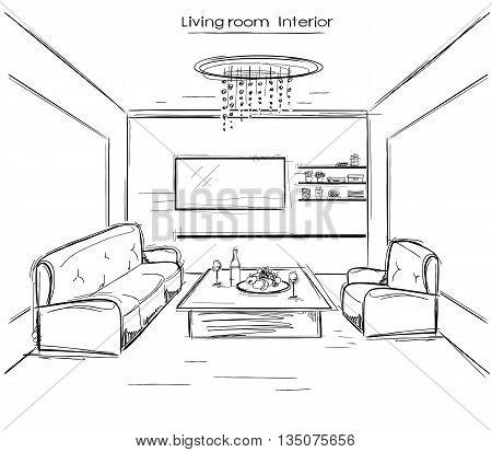 Living Room Interior.vector Black Hand Drawing Illustration