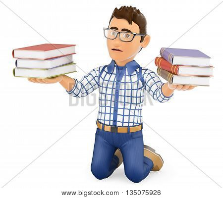 3d education people illustration. Young student punished holding books. Isolated white background.