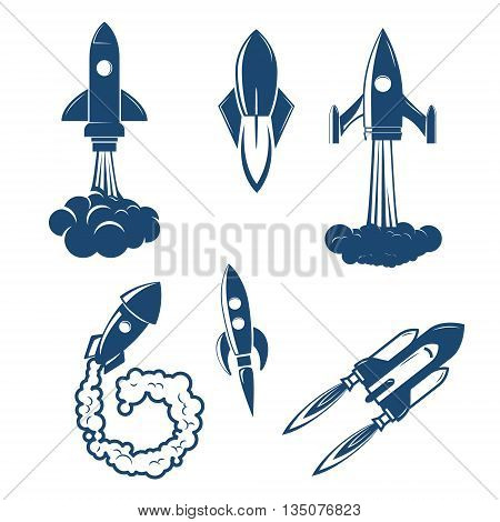 Set of the rocket launches. Startup emblem template. Design elements for logo label sign badge.