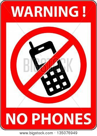 No phone telephone cellphone and smartphone prohibited symbol. Sign indicating the prohibition or rule. Warning and forbidden. Flat design. Vector illustration. Easy to use and edit. EPS10.