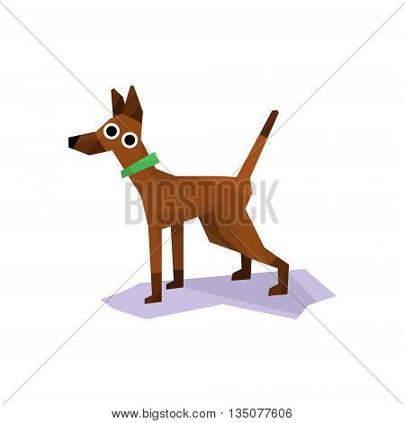 Greyhound Racing Dog Bright Color Simplified Geometric Style Flat Vector Illustrations On White Background