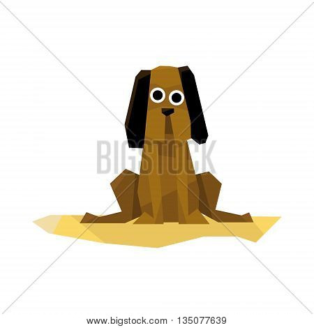 Mutt Dog Breed Bright Color Simplified Geometric Style Flat Vector Illustrations On White Background