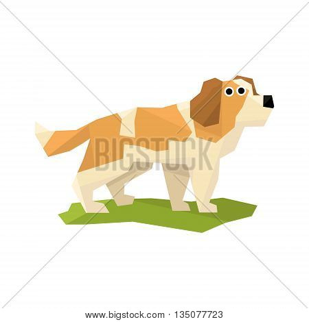 St. Bernard Rescue Dog Bright Color Simplified Geometric Style Flat Vector Illustrations On White Background