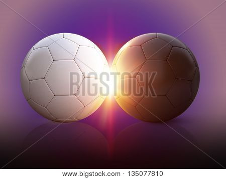 3d illustration soccer balls on isolated background