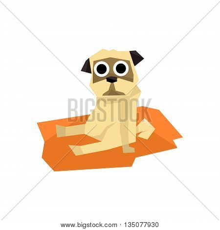 Small Pug Dog Bright Color Simplified Geometric Style Flat Vector Illustrations On White Background
