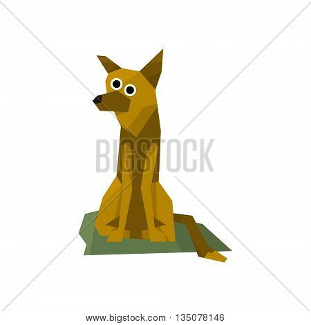 German Shepherd Dog Bright Color Simplified Geometric Style Flat Vector Illustrations On White Background