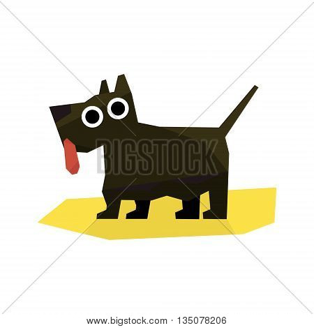 Small Black Terrier Dog Bright Color Simplified Geometric Style Flat Vector Illustrations On White Background