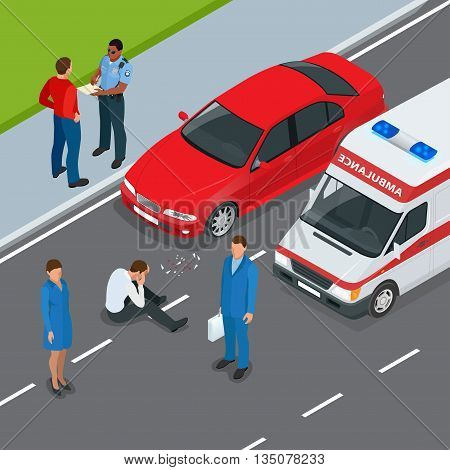 Car accident. Accident car and pedestrian. Flat 3d vector isometric illustration. Accident road situation danger car crash and accident road collision safety emergency transport