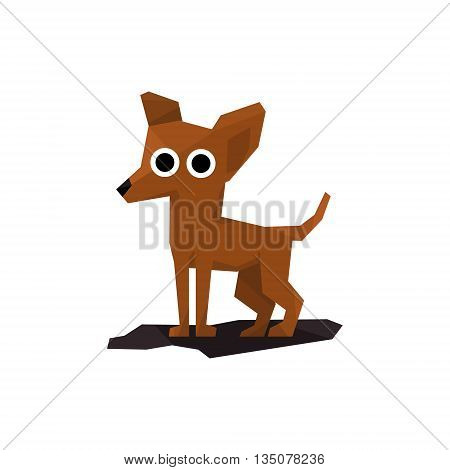 Chihuahua Miniature Dog Bright Color Simplified Geometric Style Flat Vector Illustrations On White Background