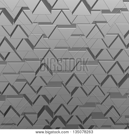 Gray prisms shape, abstarct background. 3D rendering.