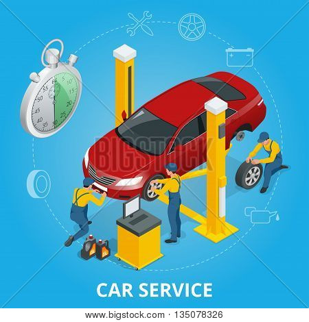 Car repair service center. Tire service flat set with shop car repair mechanics. Flat 3d isometric vector illustration
