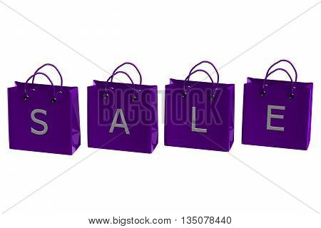 Purple shopping bags with word sale isolated on white background. 3D rendering.