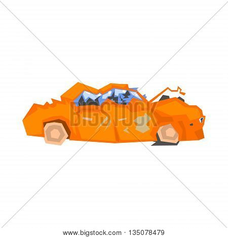 Completely Crashed Orange Car Flat Simplified Colorful Vector Illustration Isolated On White Background