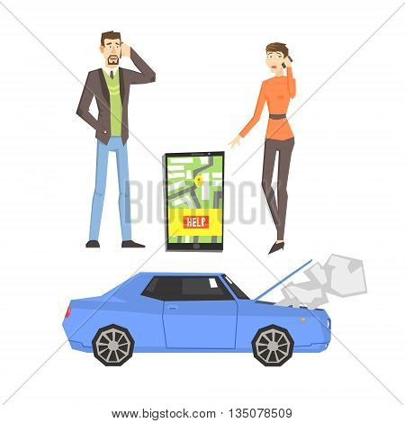 Broken Car, Couple Calling For Help And Smartphone App Flat Simplified Colorful Vector Illustration Isolated On White Background