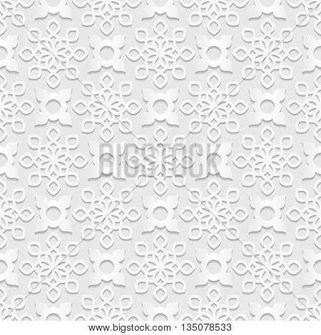 Seamless arabic geometric pattern east ornament indian pattern persian motif white background 3D vector. Endless texture can be used for wallpaper pattern fills web page background.