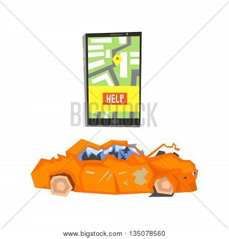 Smartphone Evacuation App And Crushed Car Flat Simplified Colorful Vector Illustration Isolated On White Background